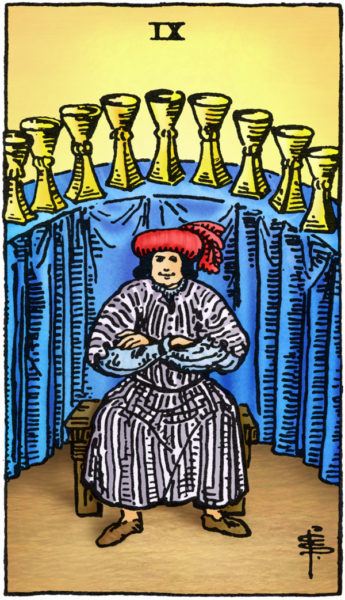 Rider Waite Tarotkaart Kelken Negen