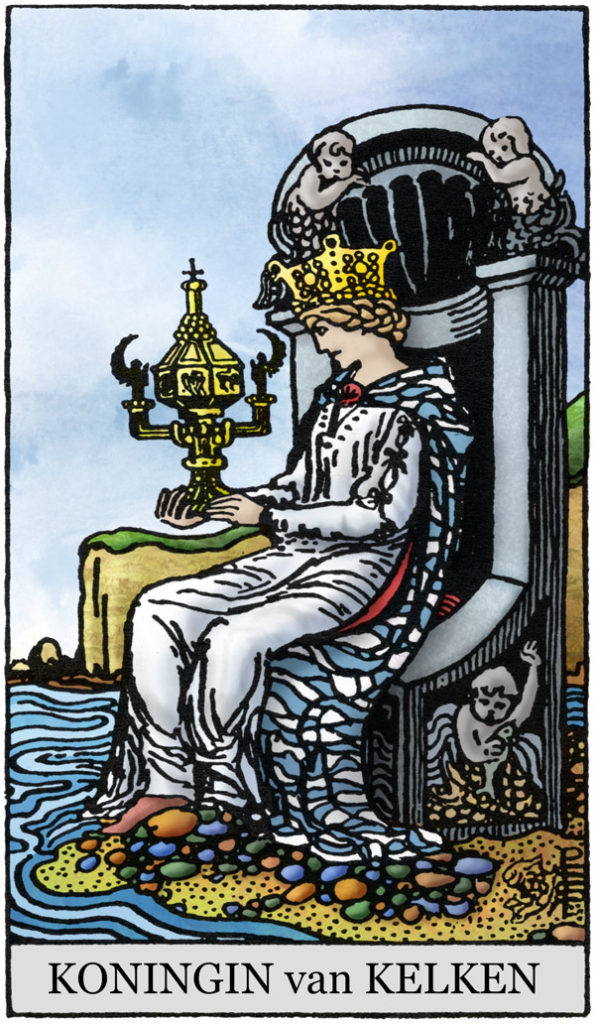 Rider Waite Tarotkaart Kelken Koningin