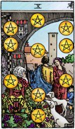 Tarotkaart Pentakels Tien – Voorspoed