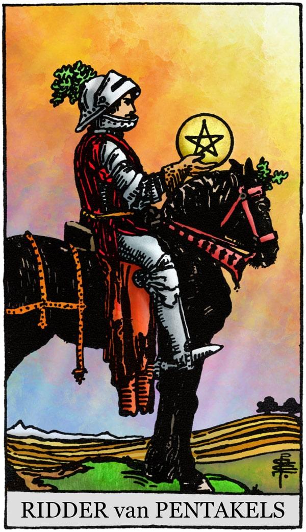 Rider Waite Tarotkaart Pentakels Ridder