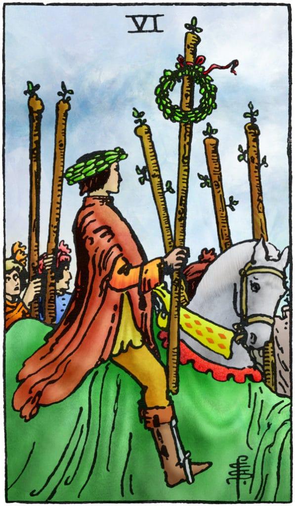 Rider Waite Tarotkaart Staven Zes