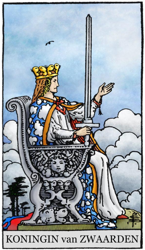 Rider Waite Tarotkaart Zwaarden Koningin