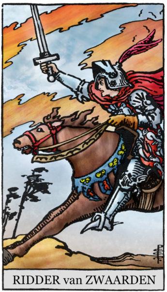Rider Waite Tarotkaart Zwaarden Ridder