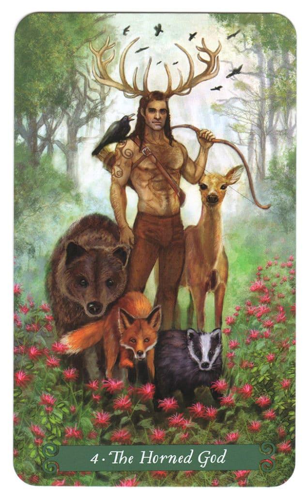 Grote Arcana Tarotkaart 4 uit de Green Witch Tarot: de Gehoornde God