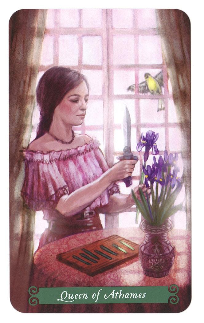 Green Witch Tarot – Koningin van Zwaarden