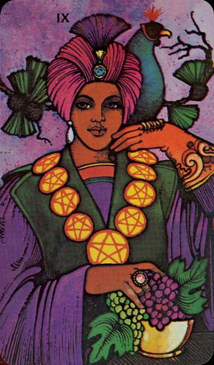 Morgan Greer Tarotkaart Pentakels Negen