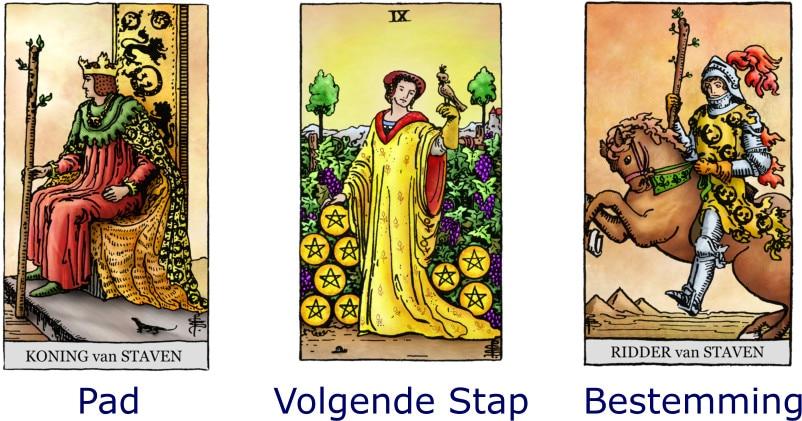 Tarot Koning Staven, Pentakels 9, Ridder Staven