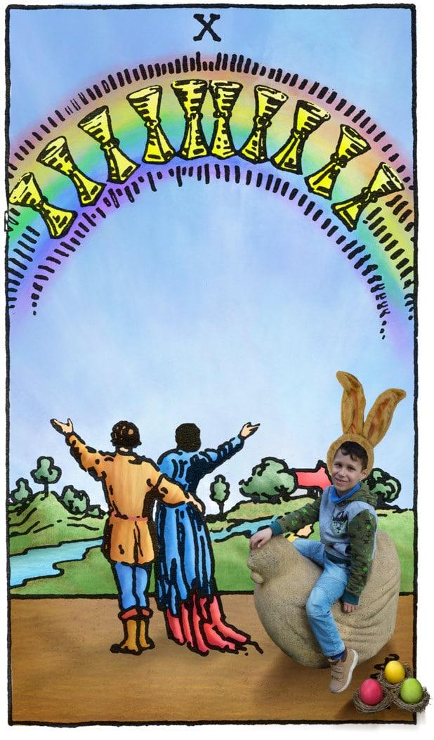 Tarotkaart Kelken Tien voor Pasen