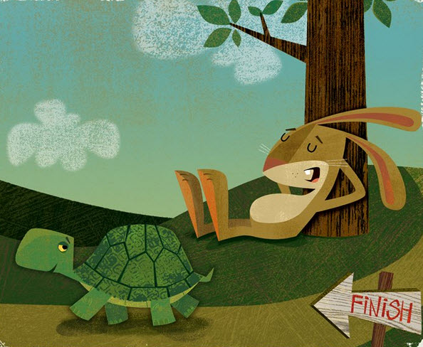 haas en schildpad in de tarot
