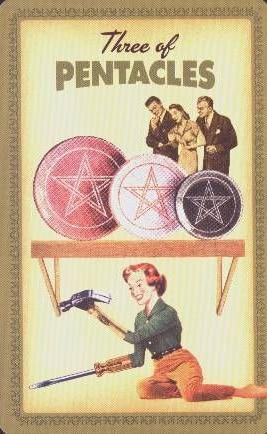 Tarotkaart Pentakels 3 Housewives Tarot