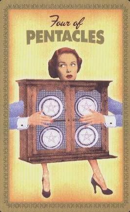 Huisvrouwen Tarot Pentakels Vier