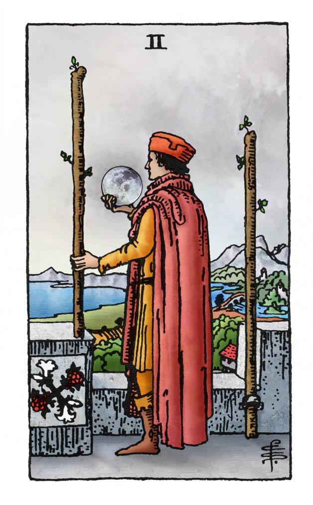 Tarotkaart Staven 2 met volle maan
