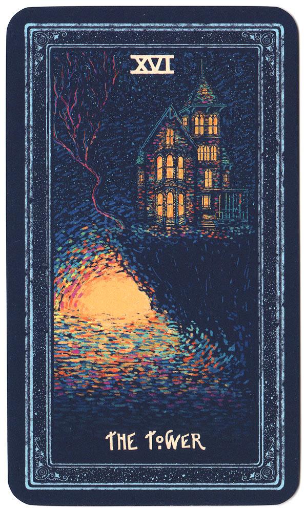 Tarotkaart De Toren, prisma visions tarot