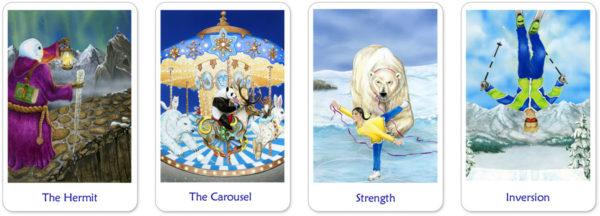 Snowland tarotkaarten kluizenaar, rad van fortuin, kracht en gehangene