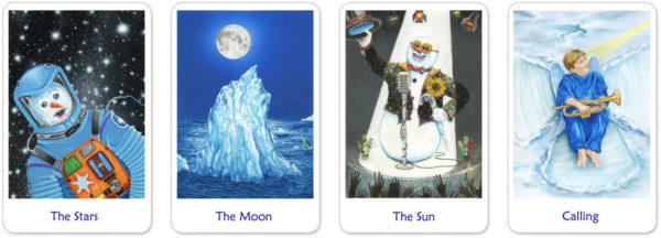 Snowland tarotkaarten de ster, maan, zon en oordeel