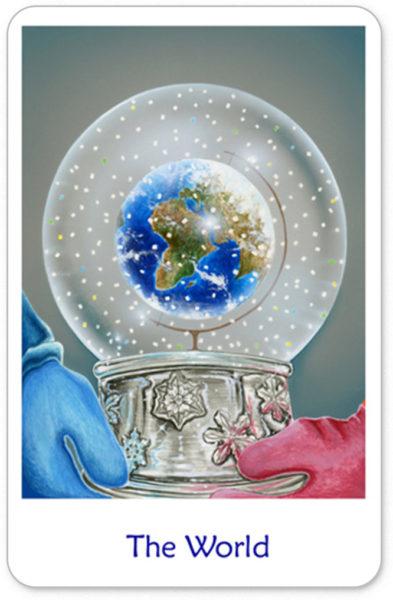 De Wereld als sneeuwbol uit de winterse tarot