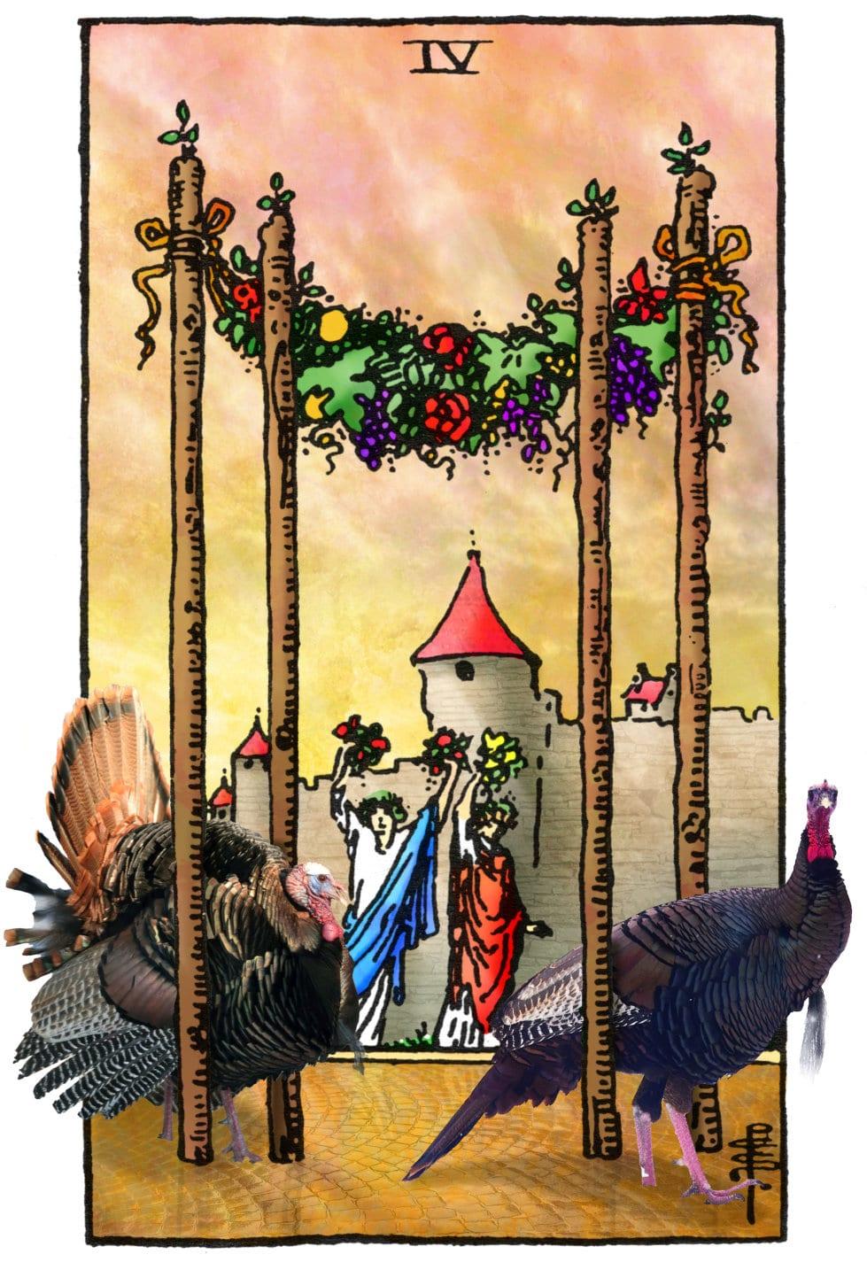 Tarotkaart Staven 4 voor Thanksgiving