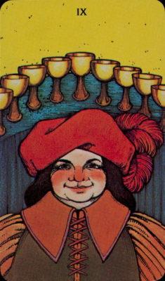 Morgan Greer Tarotkaart Kelken Negen