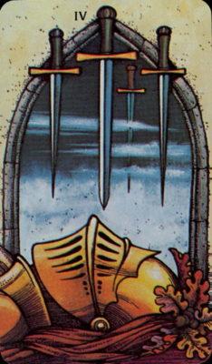 Morgan Greer Tarotkaart Zwaarden Vier