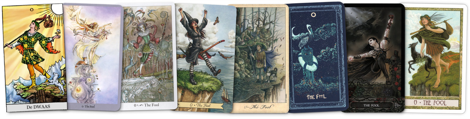 Tarot Dwaas uit verschillende tarot decks voor tarot dagkaart