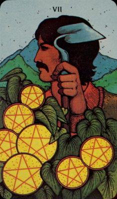 tarot dagkaart morgan greer pentakels zeven