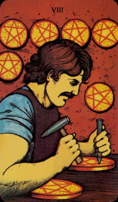tarot dagkaart morgan greer pentakels acht