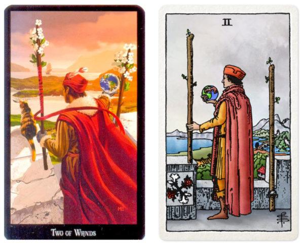 dugan witches tarot en waite tarotkaart staven 2