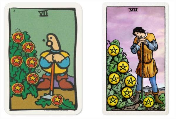 tarotkaart pentakels 7 twee dezelfde schoen of twee verschillende kleuren