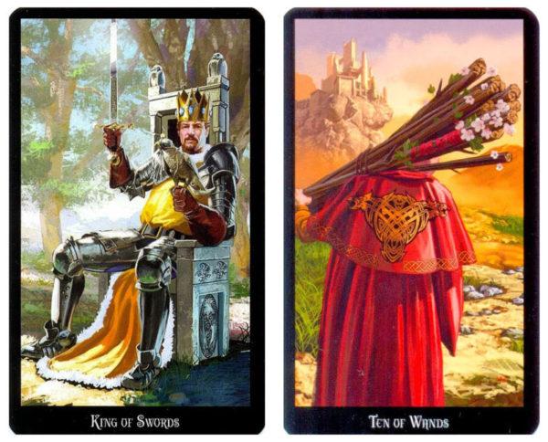 zwaarden koning en staven 10 als tarot dagkaarten