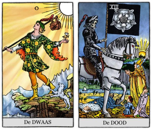 Tarotkaarten De Dwaas en De Dood uit de Rider Waite Tarot