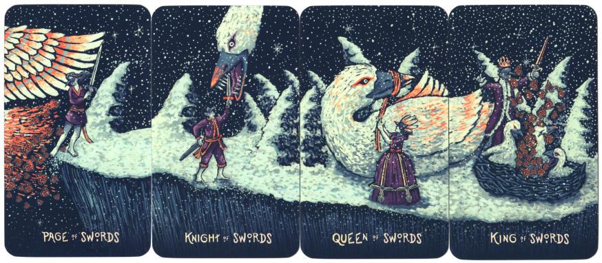 tarotkaart prisma vision tarot zwaarden page, ridder, koningin en koning. Om met Shakespeare te spreken: All's well that ends well.