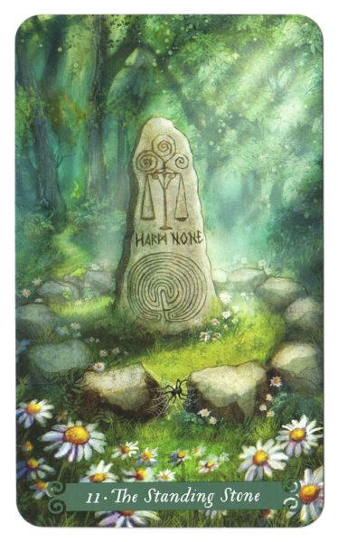 tarotkaart De Staande Steen (Gerechtigheid) Green Witch Tarot