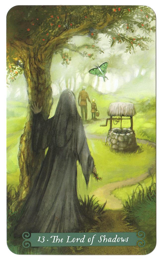 tarotkaart heer der schaduwen (de dood) uit de Green Witch Tarot 13de tarotkaart