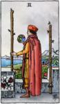 Tarotkaart Staven Twee, Keltisch Kruis en afvallen
